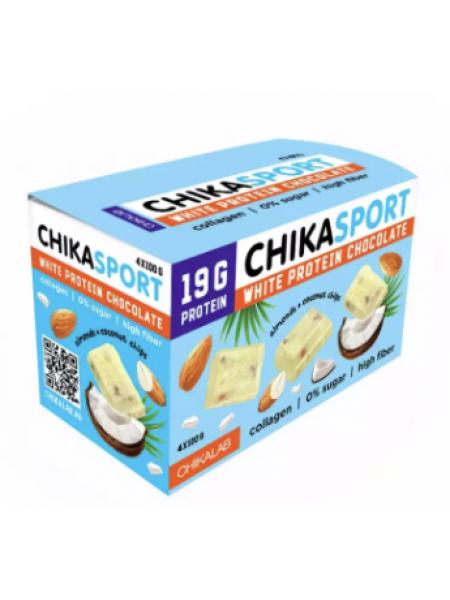 ChikaLab Белый Шоколад с миндалем и кокосовыми чипсами протеиновый (100 г) - 4 шт