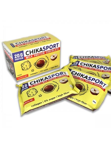 ChikaLab Шоколад с фундуком протеиновый молочный  (100 г)