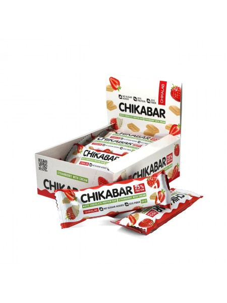ChikaLab Батончик Клубника со сливками глазированный белым шоколадом (60 грамм)