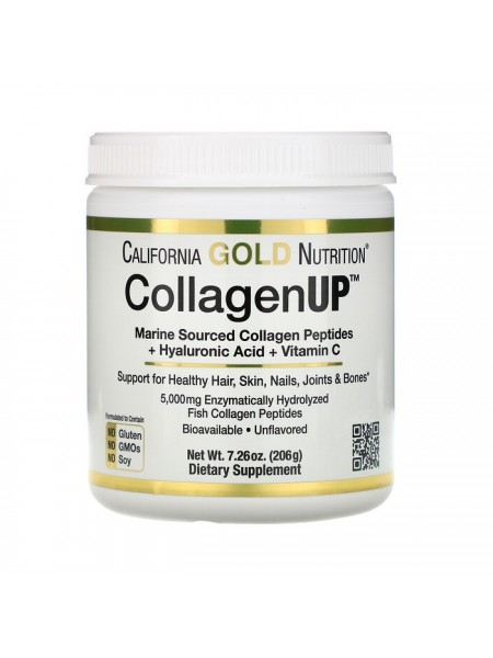 California Gold Nutrition СollagenUP 5000, Коллаген + Hyaluronic+ Vitamin C (206 г)