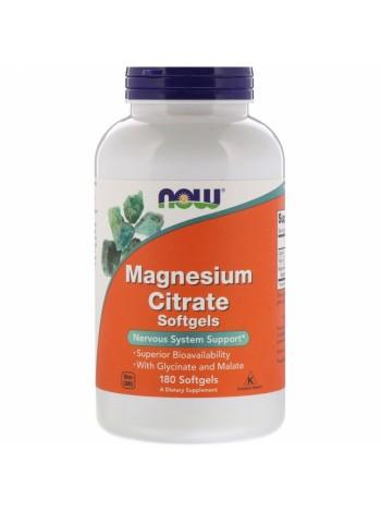 NOW Magnesium Citrate, Магний Цитрат - (180 желатиновых капсул), , 1 690 RUB, Magnesium Citrate, NOW Foods, Витамины и минералы