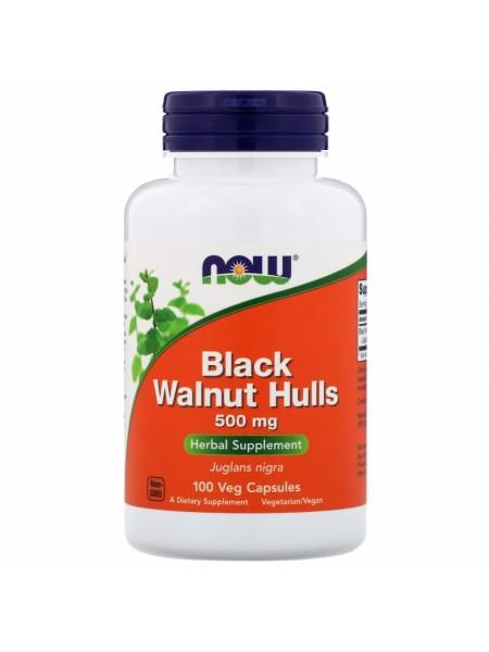 NOW Black Walnut Hulls, Черный Орех 500 мг - (100 капсул)