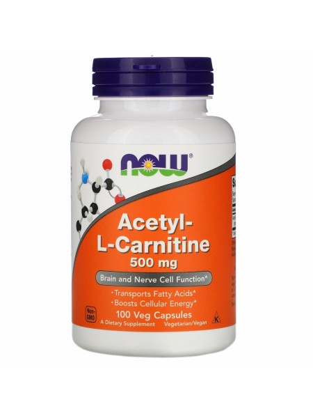 NOW Acetyl L-Carnitine, Ацетил-L-Карнитин 500 мг - (100 вегетарианских капсул)