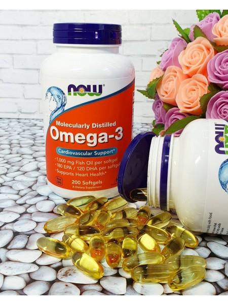 NOW Omega-3 180 EPA/120 DHA  (200  caps)   Цена действительна при покупке от 2 шт !