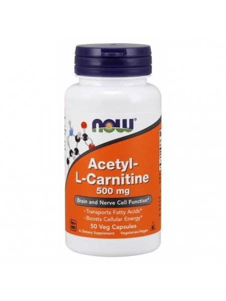 NOW Acetyl-L-Carnitine, Ацетил-L-Карнитин 500 мг - (50 вегетарианских капсул)