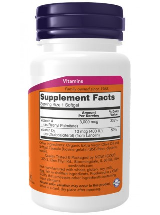 NOW Vitamin A & D 10000/400 (100 капс)