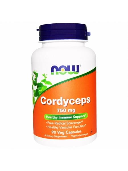 NOW Cordyceps, Кордицепс, Витамины и Микроэлементы 750 мг - (90 капсул)