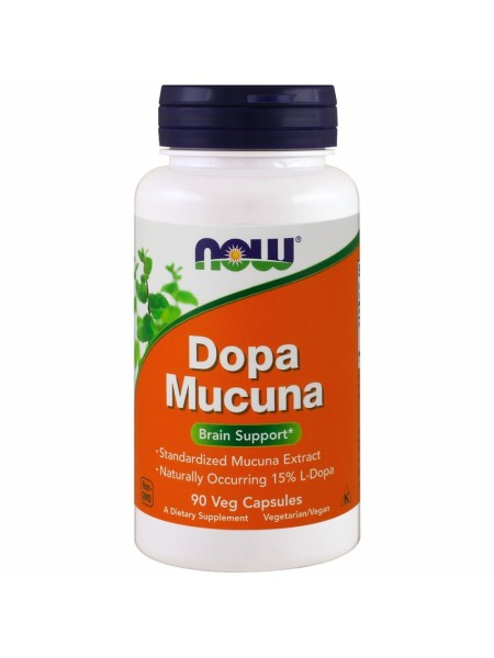 NOW Dopa Mucuna, Допа Мукуна - (90 капсул)