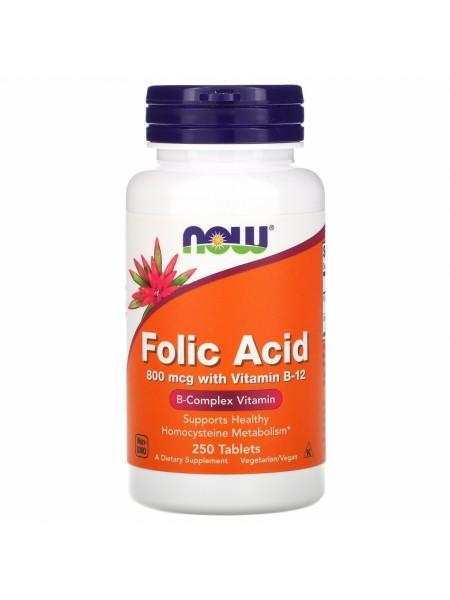 NOW Folic Acid, Фолиевая Кислота 800 мкг, Витамин B-12 25 мкг - (250 таблеток)