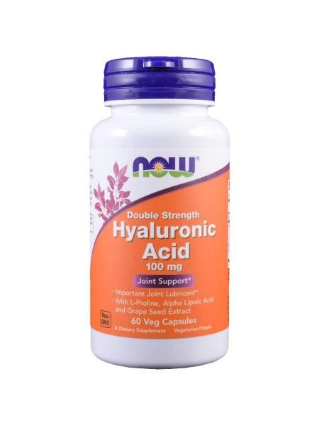 NOW Hyaluronic Acid, Гиалуроновая Кислота с Пролином 100 мг - (60 капсул)