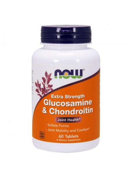 NOW Glucosamine & Chondroitin, Глюкозамин и Хондроитин Экстра - (60 таблеток)