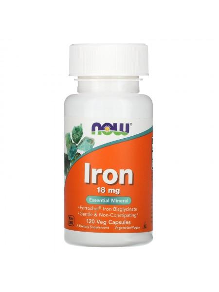 NOW Iron, Железо Легкоусвояемое, Хелат Бисглицината 18 мг - (120 капсул)