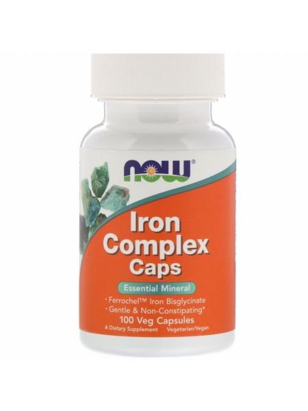 NOW Iron Complex Caps, Железо Бисглицинат Комплекс - (100 капсул)