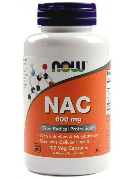 Now NAC 600 mg, N-Ацетил L-Цистеин, Антиоксидант (100 капсул)