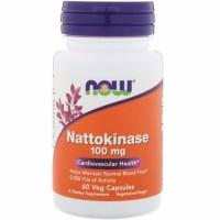 NOW Nattokinase, Наттокиназа 100 мг - (60 капсул)