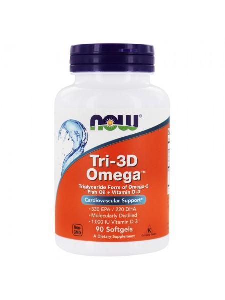 NOW Tri-3D Omega Softgels  (90 мягких капсул)