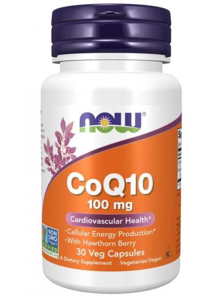NOW Q 10 Coenzyme, Кофермент Q10 100 мг + Боярышник - (30 капсул)