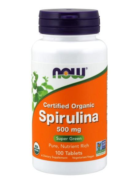 NOW Spirulina, Спирулина 500 мг  (100 tabs)