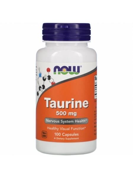 NOW Taurine, Таурин 500 мг - (100 капсул)