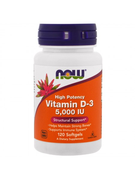 NOW Foods  Vitamin D-3 5,000 IU (120 caps)