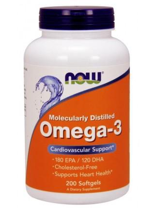 NOW Omega-3 180 (200  caps)  (Брак этикетки)