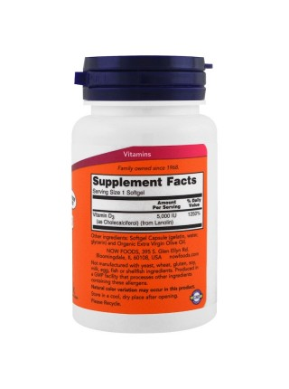 NOW Foods Vitamin D-3 5,000 IU (240 caps)