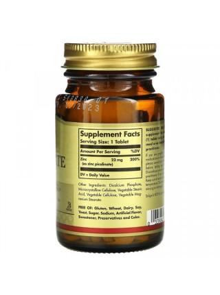 Solgar Zinc Picolinate 22 mg Tablets (100 Tablets)